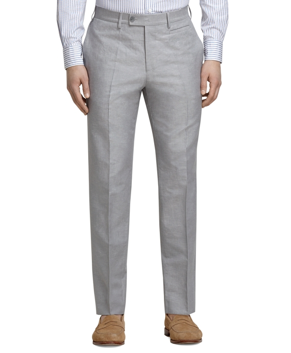 Grey Linen and Cotton Dress Trousers Grey