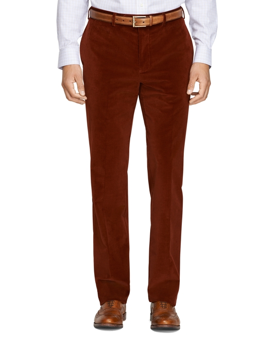 Regent Fit Stretch Corduroy Trousers Rust