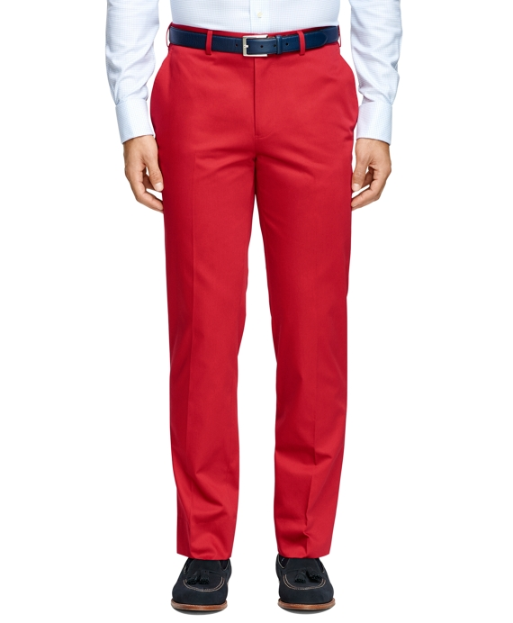 Fitzgerald Fit Plain-Front  Cotton Dress Trousers Red