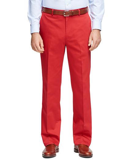 Madison Fit Plain-Front Cotton Dress Trousers
