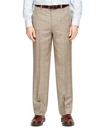 Madison Fit Tan Plaid Dress Trousers