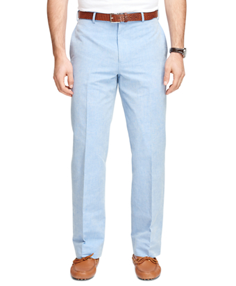 Fitzgerald Fit Plain-Front Chambray Dress Trousers