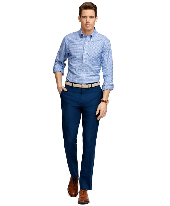 Men's Fitzgerald Fit Navy Blue Plain-Front Linen Dress Pants ...