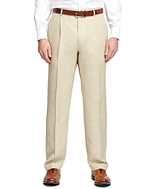Madison Fit Pleat-Front Linen Dress Trousers