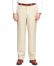Madison Fit Plain-Front Linen Dress Trousers