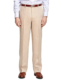 Madison Fit Linen Herringbone Dress Trousers