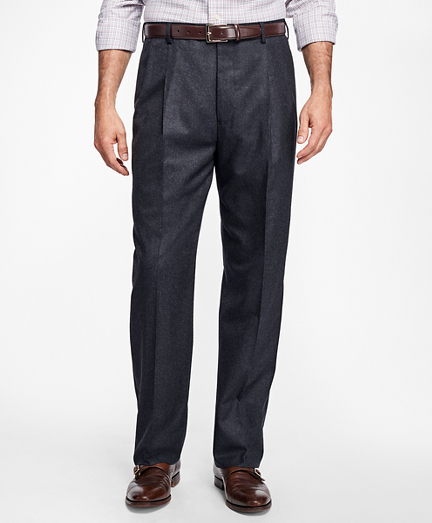 Madison Fit Pleat-Front Stretch Flannel Trousers