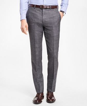 Regent Fit Grey Plaid Trousers