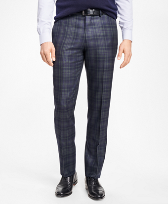 Regent Fit Navy and Green Plaid Trousers