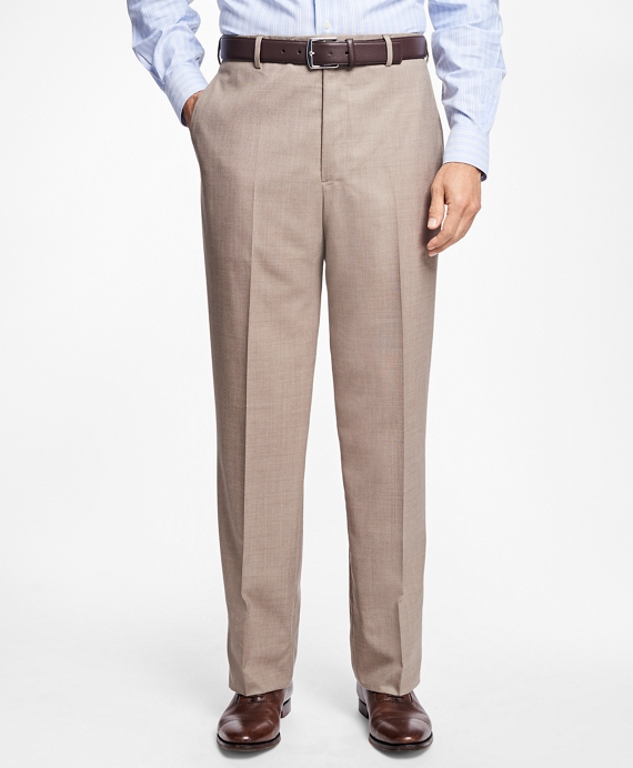 Regent Fit Saxxon Wool Trousers Tan