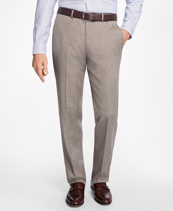 Madison Fit Herringbone Dress Trousers Tan