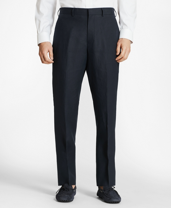 Regent Fit Linen Trousers Navy