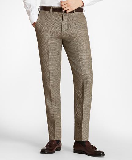 Regent Fit Houndscheck Linen Trousers