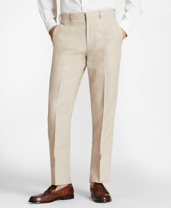 Regent Fit Linen Trousers Tan