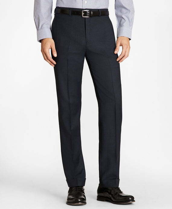 Regent Fit Wool and Mohair Check Trousers Blue