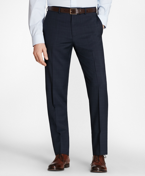 Regent Fit Plaid Trousers Navy