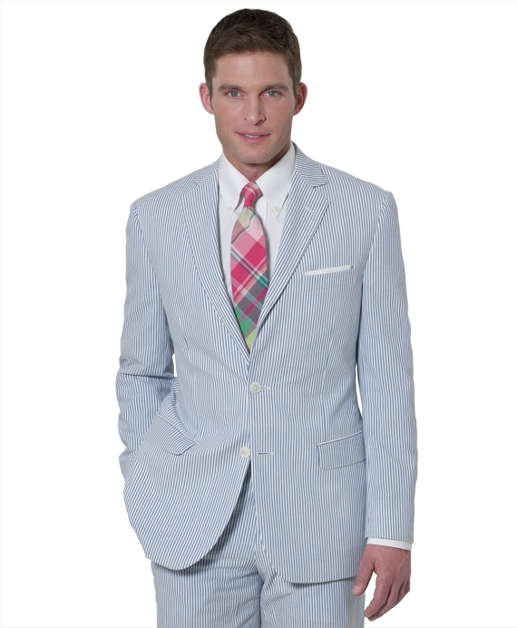 Seersucker Fitzgerald Fit Suit Blue-White