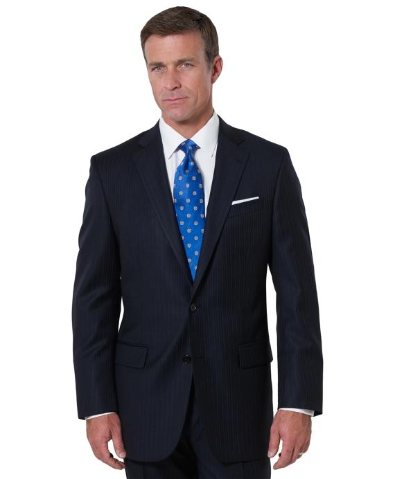 Madison Saxxon Alternating Stripe 1818 Suit Navy