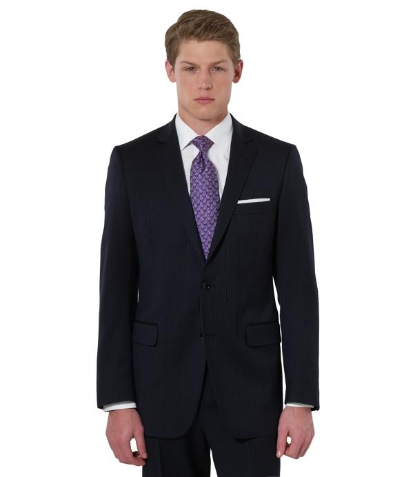 Fitzgerald Herringbone with Stripe 1818 Suit Navy
