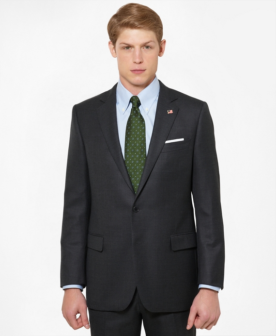 Regent Fit Saxxon Wool Tic 1818 Suit Charcoal