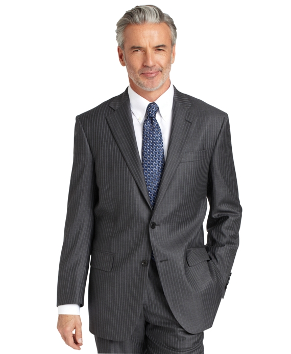 Madison Fit Saxxon Grey with Alternating Blue Stripe 1818 Suit Grey