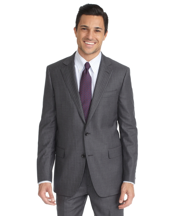 Fitzgerald Fit Saxxon Grey with Alternating Blue Stripe 1818 Suit Grey