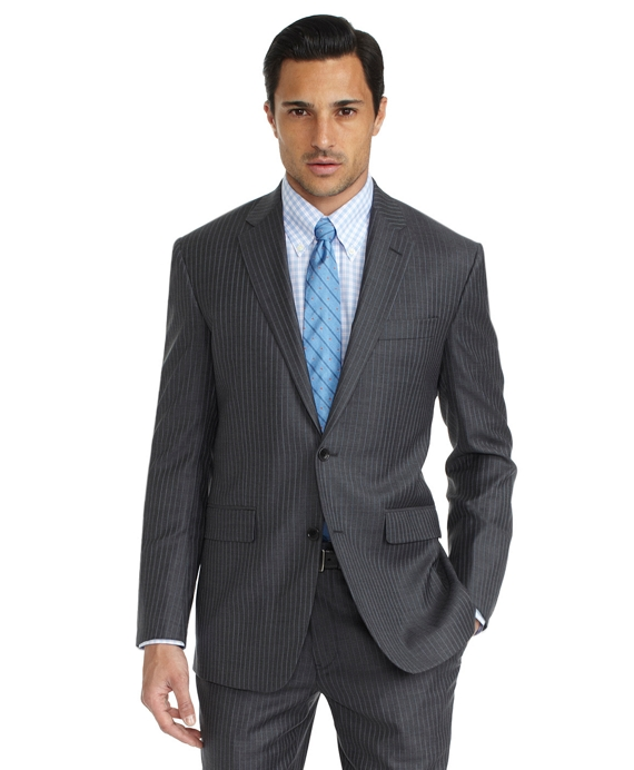 Milano Fit Saxxon Grey with Alternating Blue Stripe 1818 Suit Grey