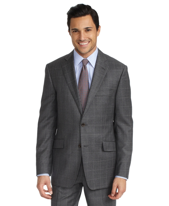 Regent Sharkskin with Windowpane 1818 Suit Grey