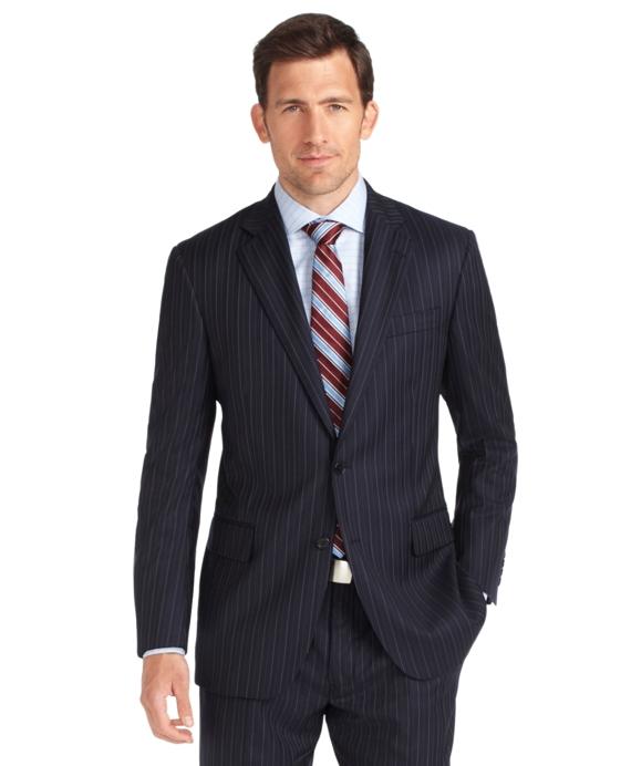 Madison Fit Saxxon Bead Alternating Stripe 1818 Suit Navy