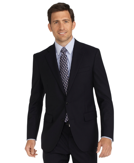 Madison Fit Saxxon Wool Shadow Stripe 1818 Suit Black