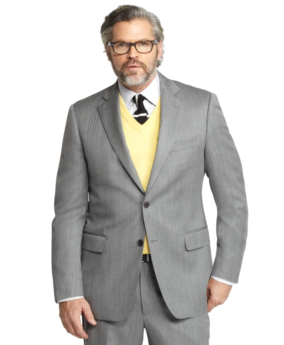 Madison Fit Herringbone 1818 Suit Grey
