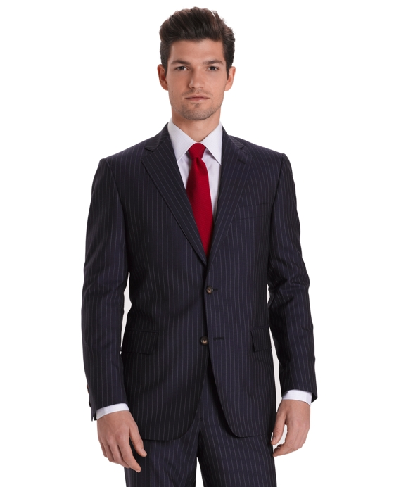 Regent Fit Plain Chalk Stripe 1818 Suit Blue