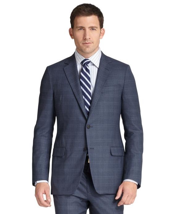 Fitzgerald Fit Saxxon Wool Plaid Deco Golden Fleece® Suit Blue