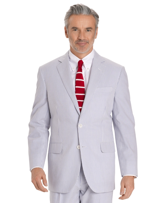 Seersucker Madison Fit Suit Navy-Ivory