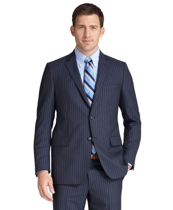 Fitzgerald Fit Plain Chalk Stripe 1818 Suit Blue