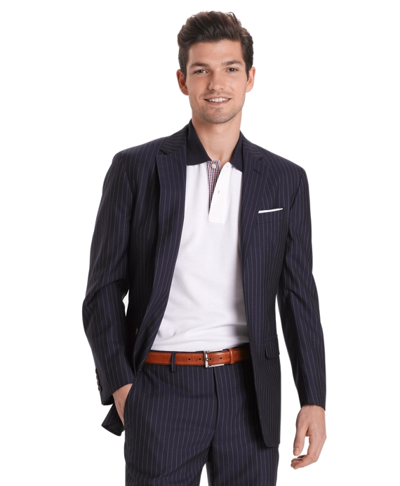 Milano Fit Plain Chalk Stripe 1818 Suit Blue