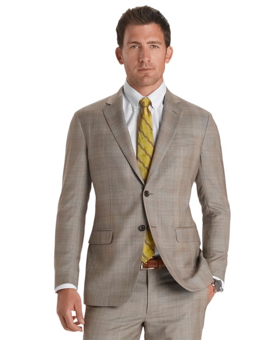 Milano Fit Plaid Deco 1818 Suit Tan