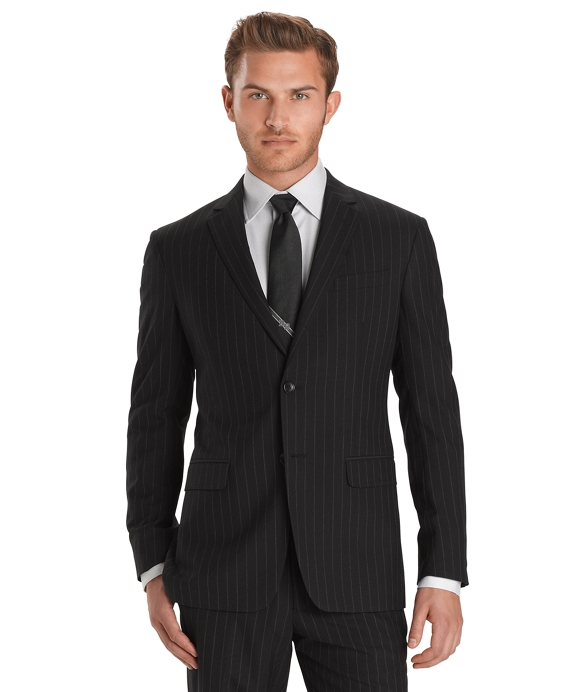 Milano Fit Plain Weave Chalk Stripe 1818 Suit Black