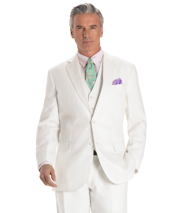 Madison Fit Linen Solid Suit with Vest Ivory