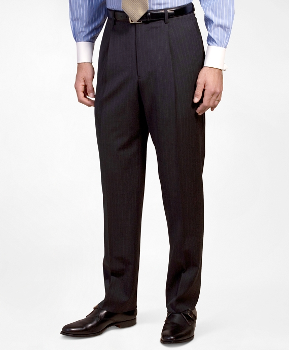 Pleat-Front Suiting Essential Stripe Trousers Navy