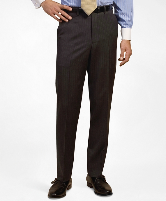 Plain-Front Suiting Essential Stripe Trousers Dark Grey