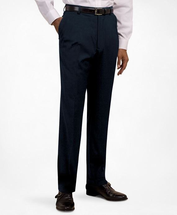 Plain-Front Suiting Essential Stripe Trousers Navy