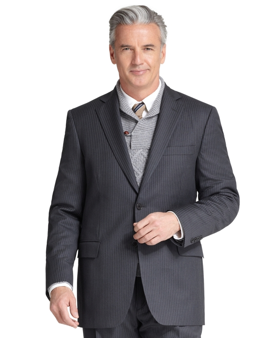 Madison Fit Narrow Stripe 1818 Suit Charcoal