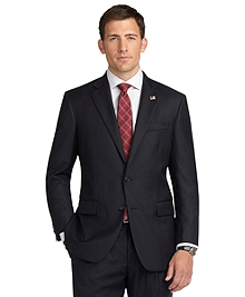 Madison Fit Saxxon Wool Navy with Red Stripe 1818 Suit