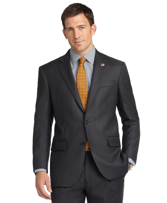 Madison Fit Saxxon™ Charcoal and Navy with Pearl Stripe 1818 Suit Navy