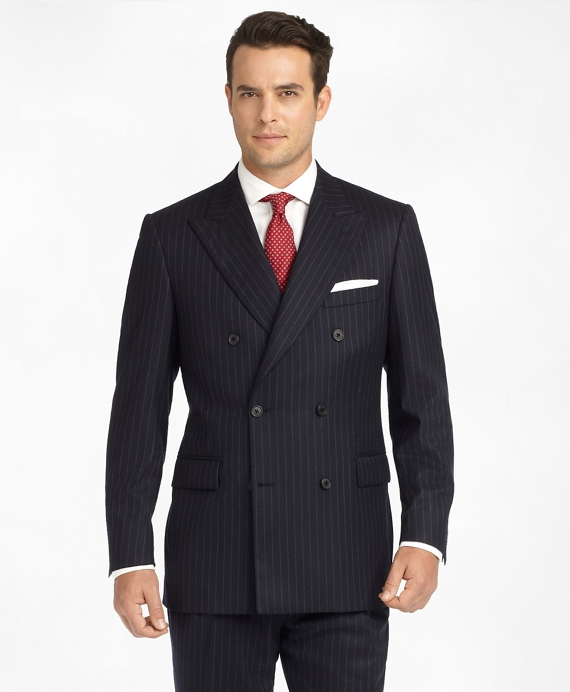 Madison Fit Chalk Stripe Double-Breasted Flannel 1818 Suit Navy