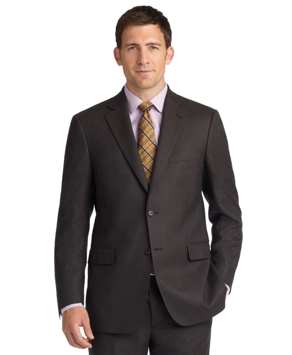 Madison Fit Mini Stripe 1818 Suit Brown