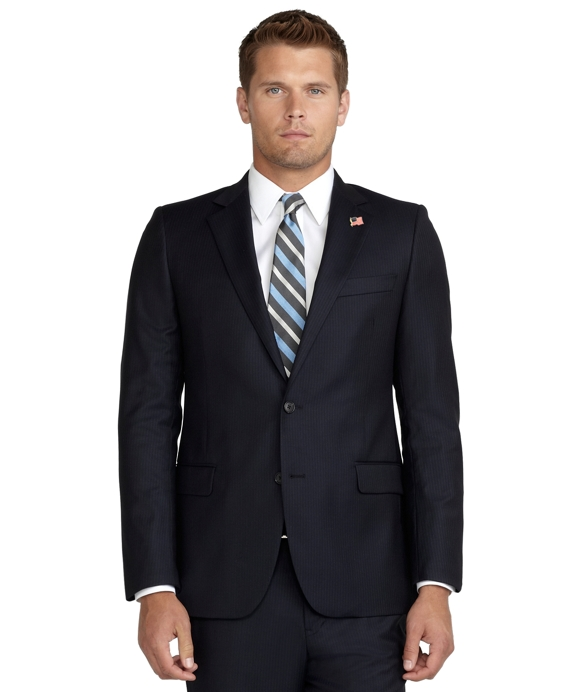 Fitzgerald Fit Saxxon Wool Narrow Stripe 1818 Suit Navy