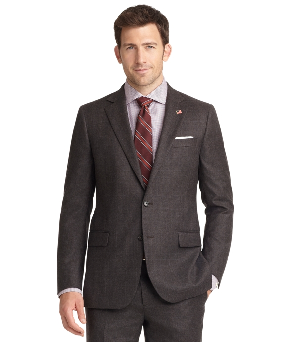 Fitzgerald Fit Saxxon Plaid with Windowpane 1818 Suit Brown