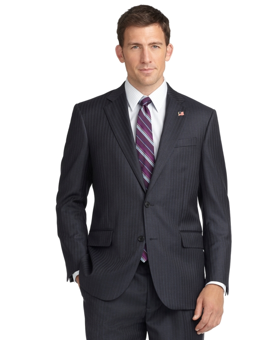 Madison Fit Saxxon Wool Blue Grey Stripe 1818 Suit Blue